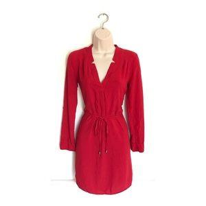 Splendid Red Long Sleeve V Neck Belted Dress